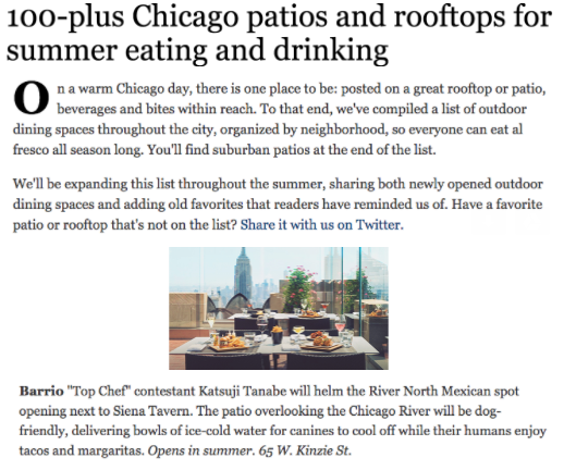 Chicago Tribune: 100 Plus Chicago Patios And Rooftops For Summer Eating And  Drinking