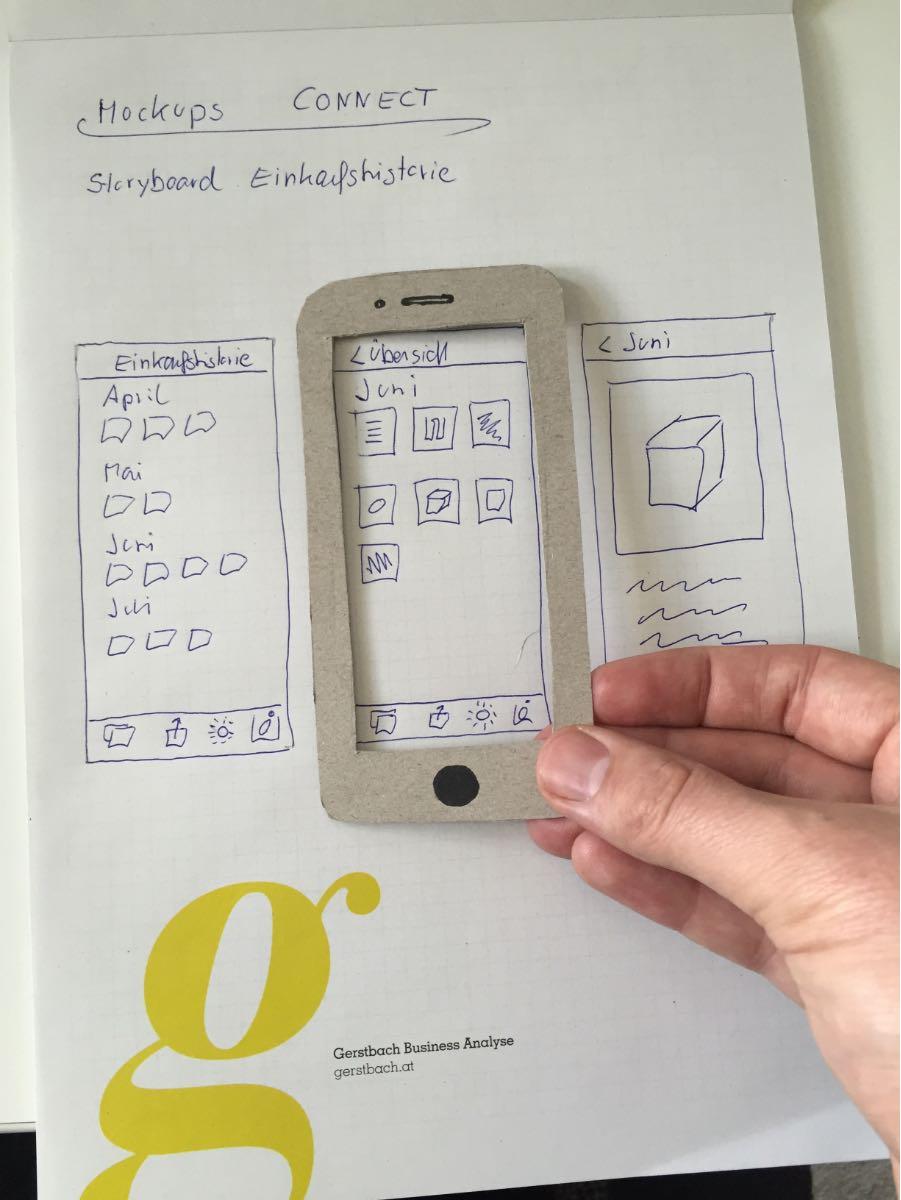 Einfache iPhone-Mockups mit Papier und Bleistift