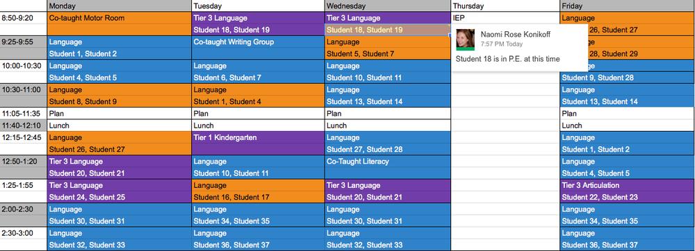 Google Doc Schedule