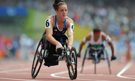 Tatyana McFadden, winner of 10 Paralympic medals, 2012. China photos.