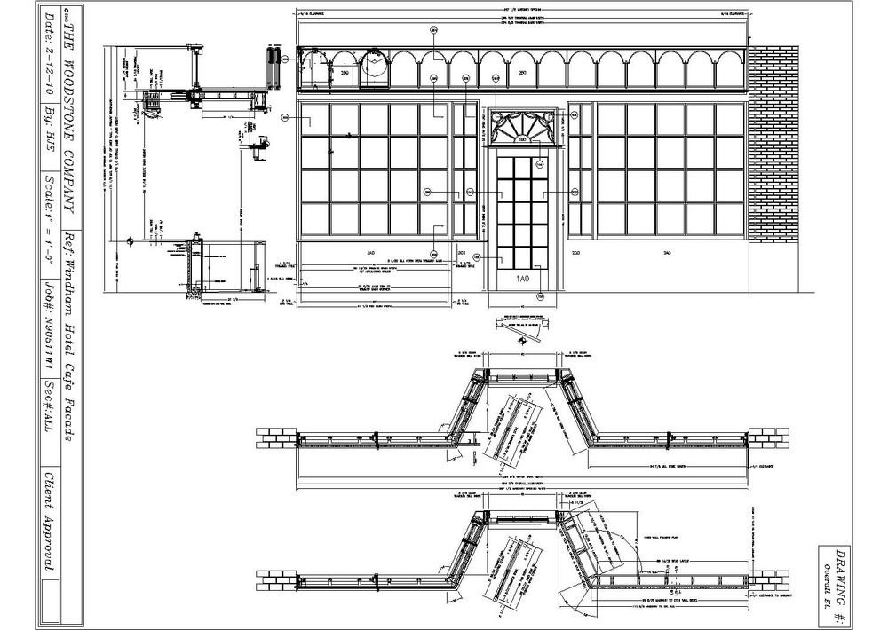 The 2010 Woodstone Shop Drawings of the Windham Cafe façade projected from excavated   original architectural elements.