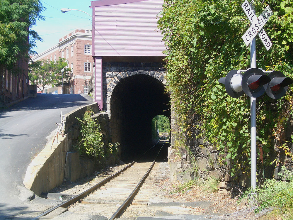 The Boston & Maine railroad tunnel looking north.