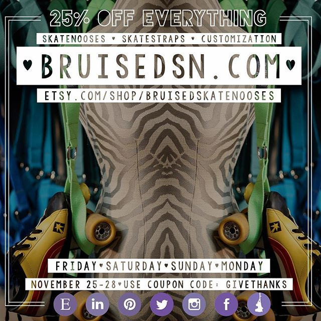 "This year we continue our Black Friday-Cyber Monday coupon tradition, so you can sit back, spend time with loved ones this holiday weekend, and still get a smashing deal on your favorite Skate Noose and Skate Straps, all at your leisure.  Get 25% off your order when you use the coupon code GIVETHANKS (free shipping to the United States). Get the original ""Over the Shoulder, Roller Skate holder"" for all of the roller skating folks on your list! 70+ colors and patterns to choose from! And while you are there, check out our new Skate Straps. (Offer good 11/25/16-11/28/16)  bruisedsn.com etsy.com/shop/BruisedSkateNooses"