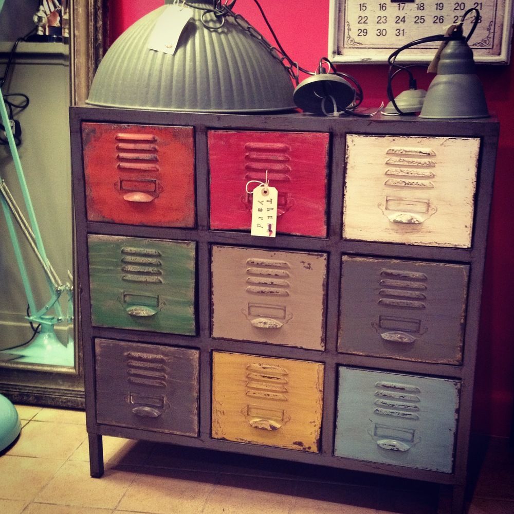 One of my favourite pieces brightly coloured metal drawers