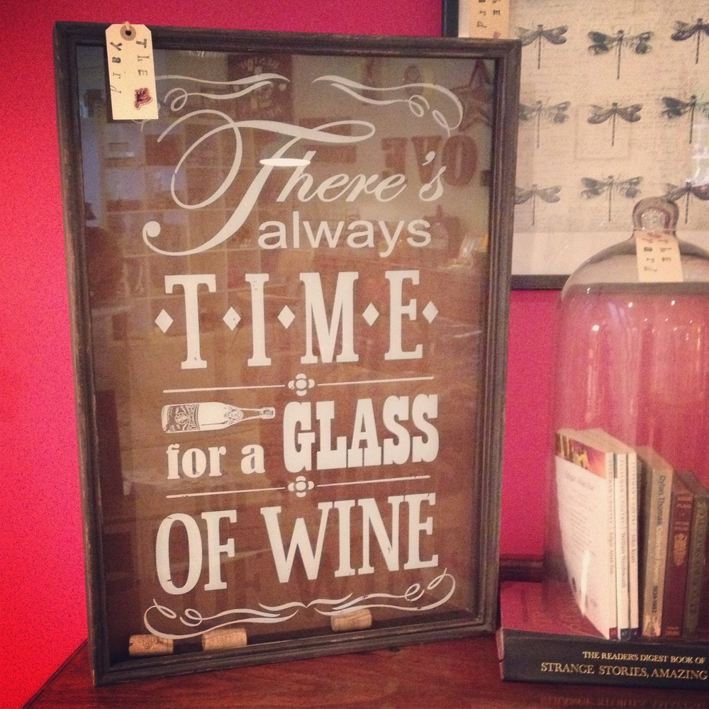 Wine wall art 'There's always time for a glass of wine' ready to be filled with corks!