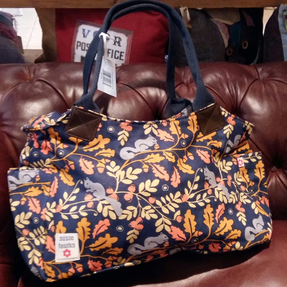 Squirrel autumn pattern bag by Susie Faulks