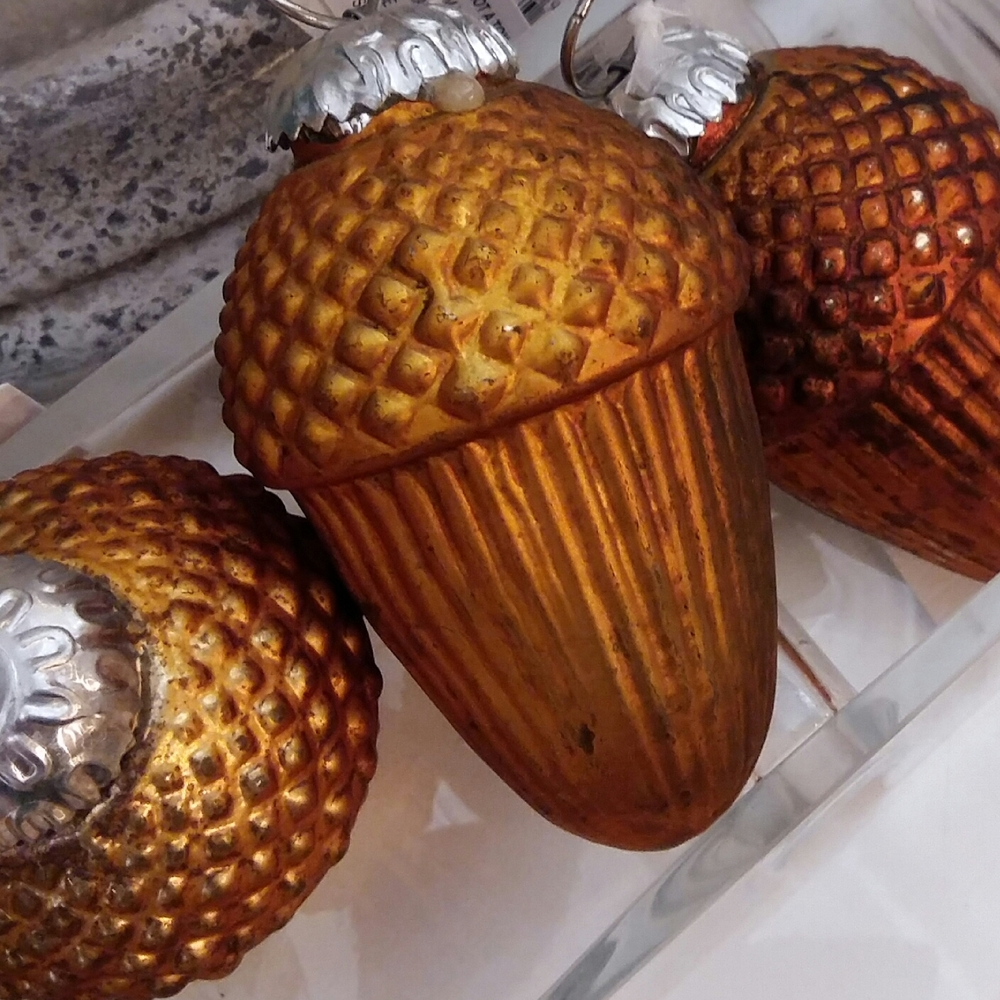 Beautifully bronzed acorn decorations