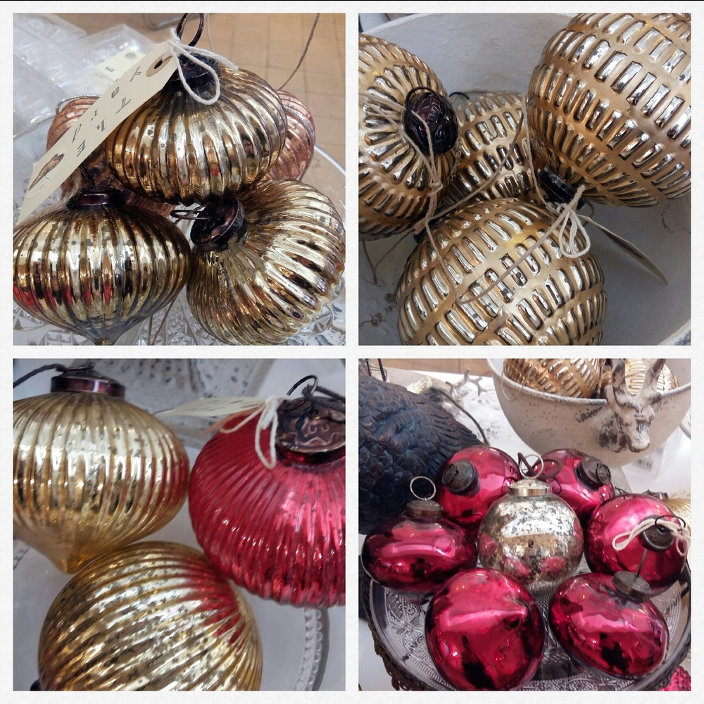Large and medium vintage inspired decorations in classic gold and red