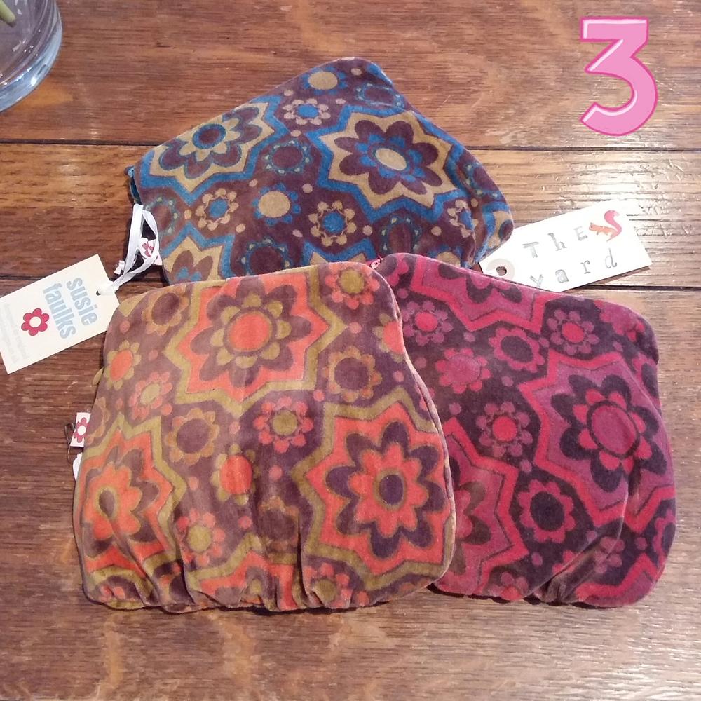 Retro print velvet pouch £5.00 each