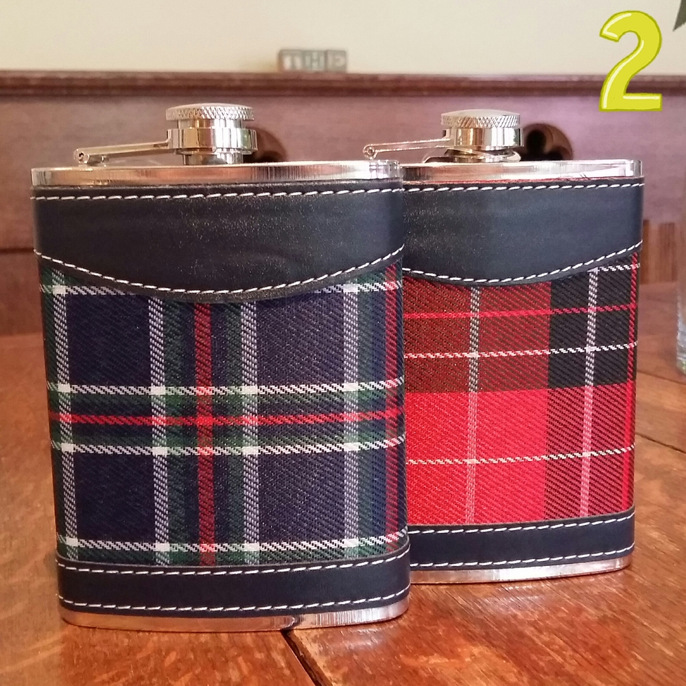 Tartan covered hip flask £8.00 each