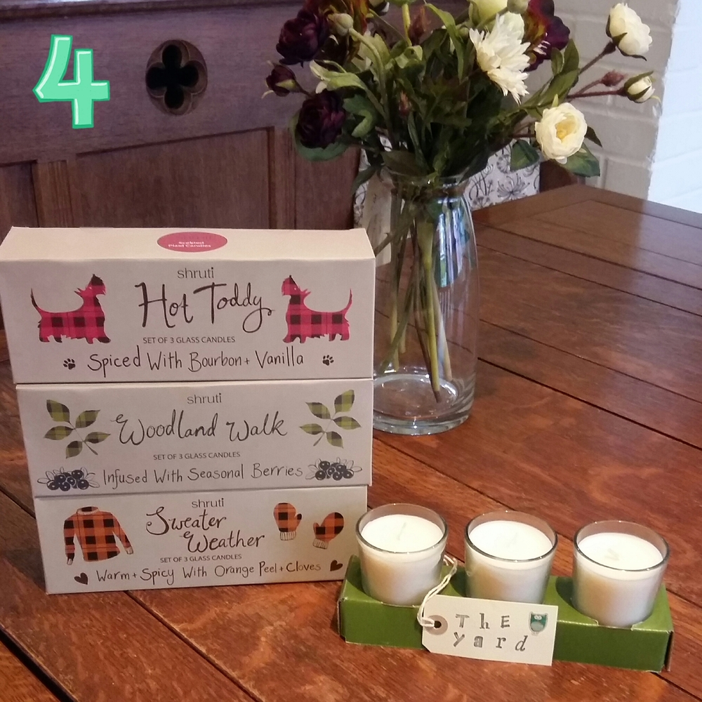 Set of three seasonally scented candles £10.00