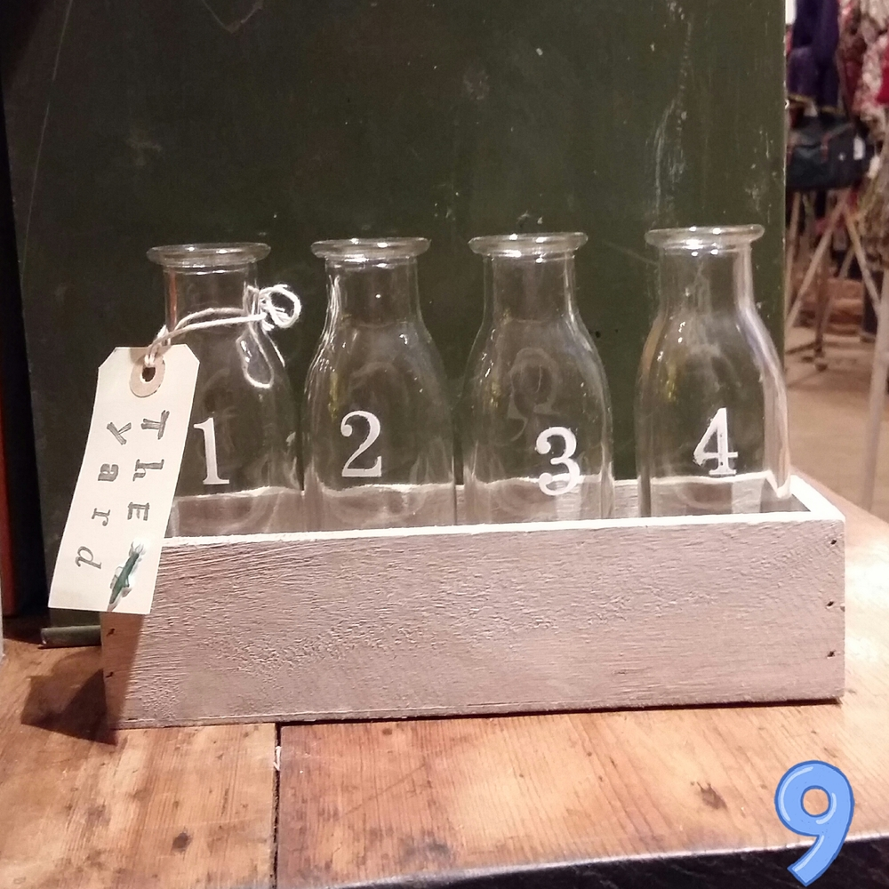 Numbered bottles in tray £7.50