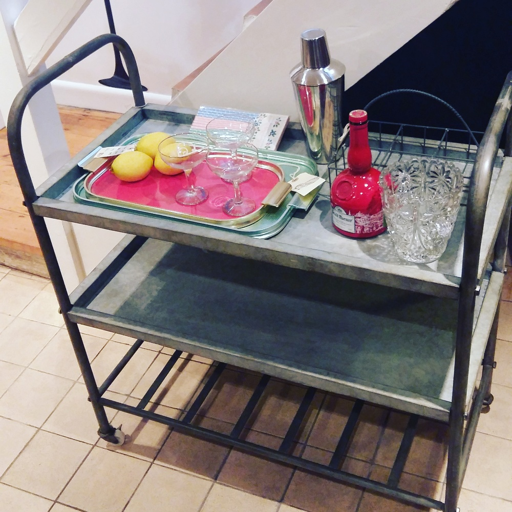 Bar cart perfect for Christmas entertaining!