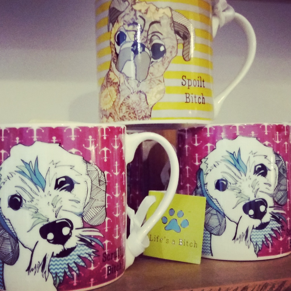 Colourful dog print mugs in two designs 'scruffy' and 'spoilt'