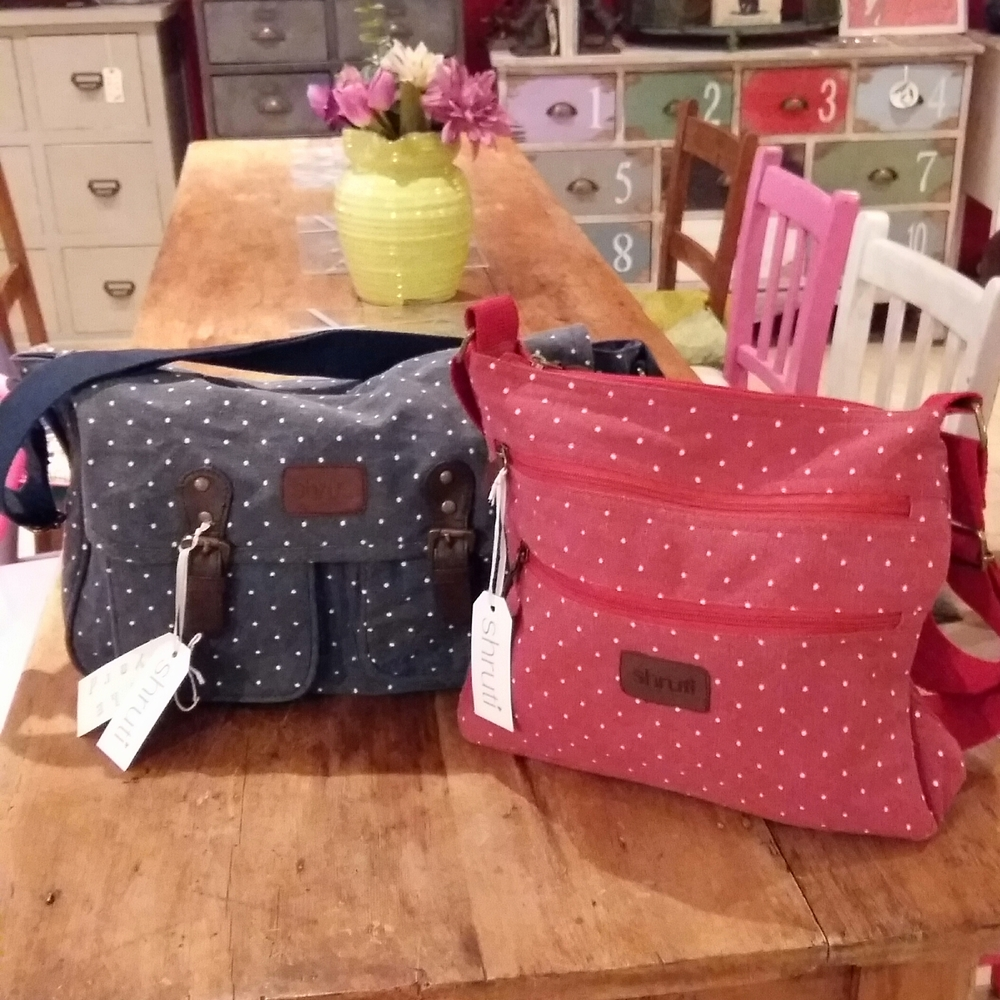 Blue spot satchel £24.00 red spot cross body bag £20.00