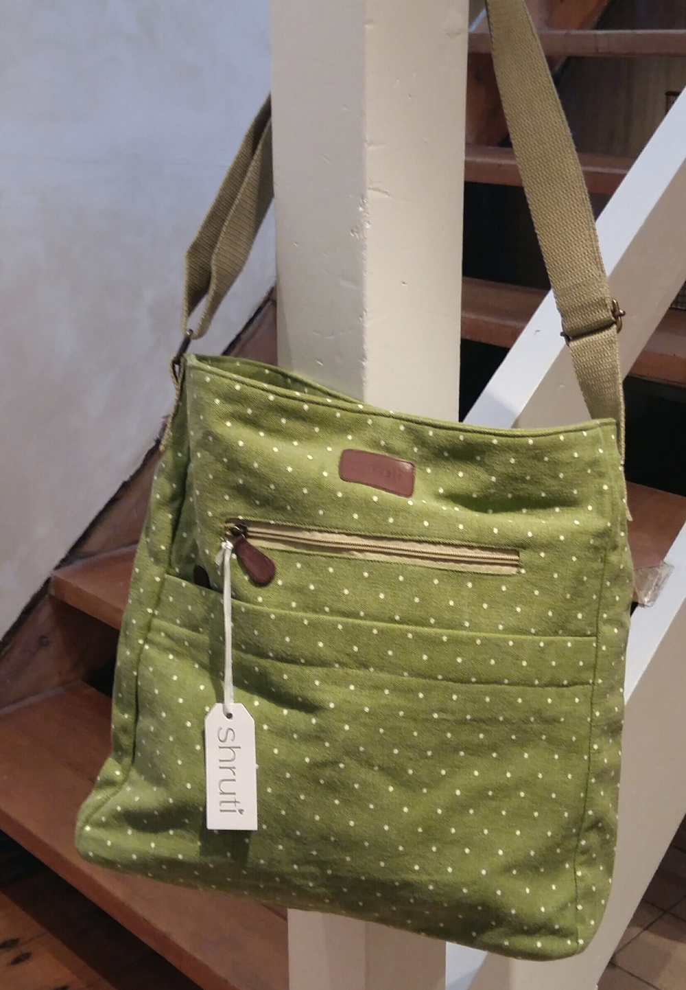 Large green spot cross body bag £22.00