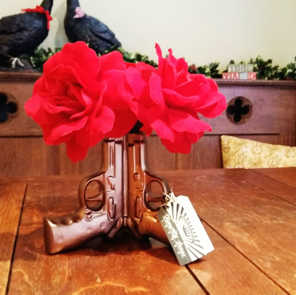 Gun vase back in stock (flowers not included)