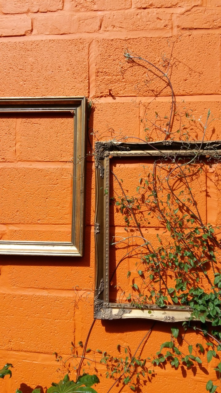 Bright orange walls outside