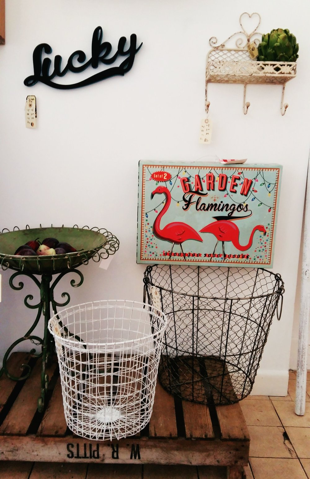 Metal bowl and stand and wire baskets