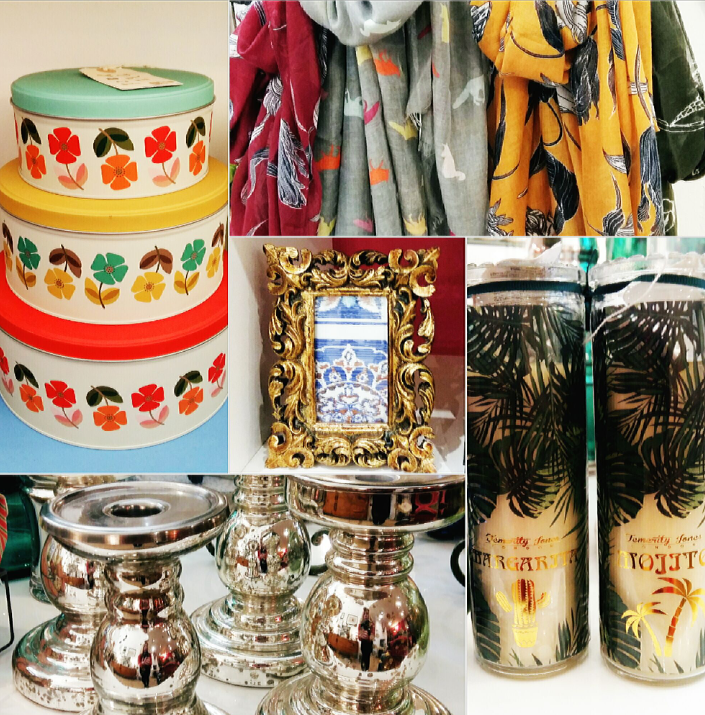 Retro tins, selection of scarves, tall palm cocktail candles, candle holders and baroque photo frame.