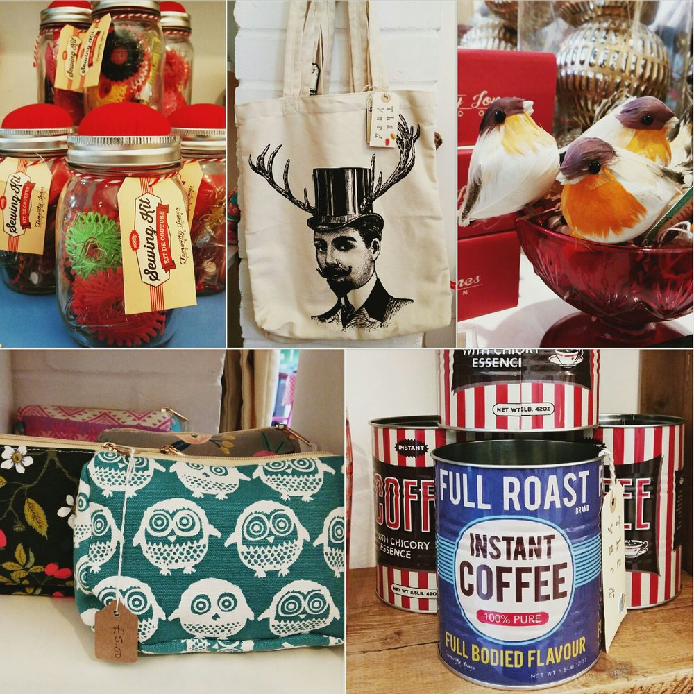 Mason jar sewing kits, quirky tote bag, robin decorations, set of two coffee tins and selection of make up bags.