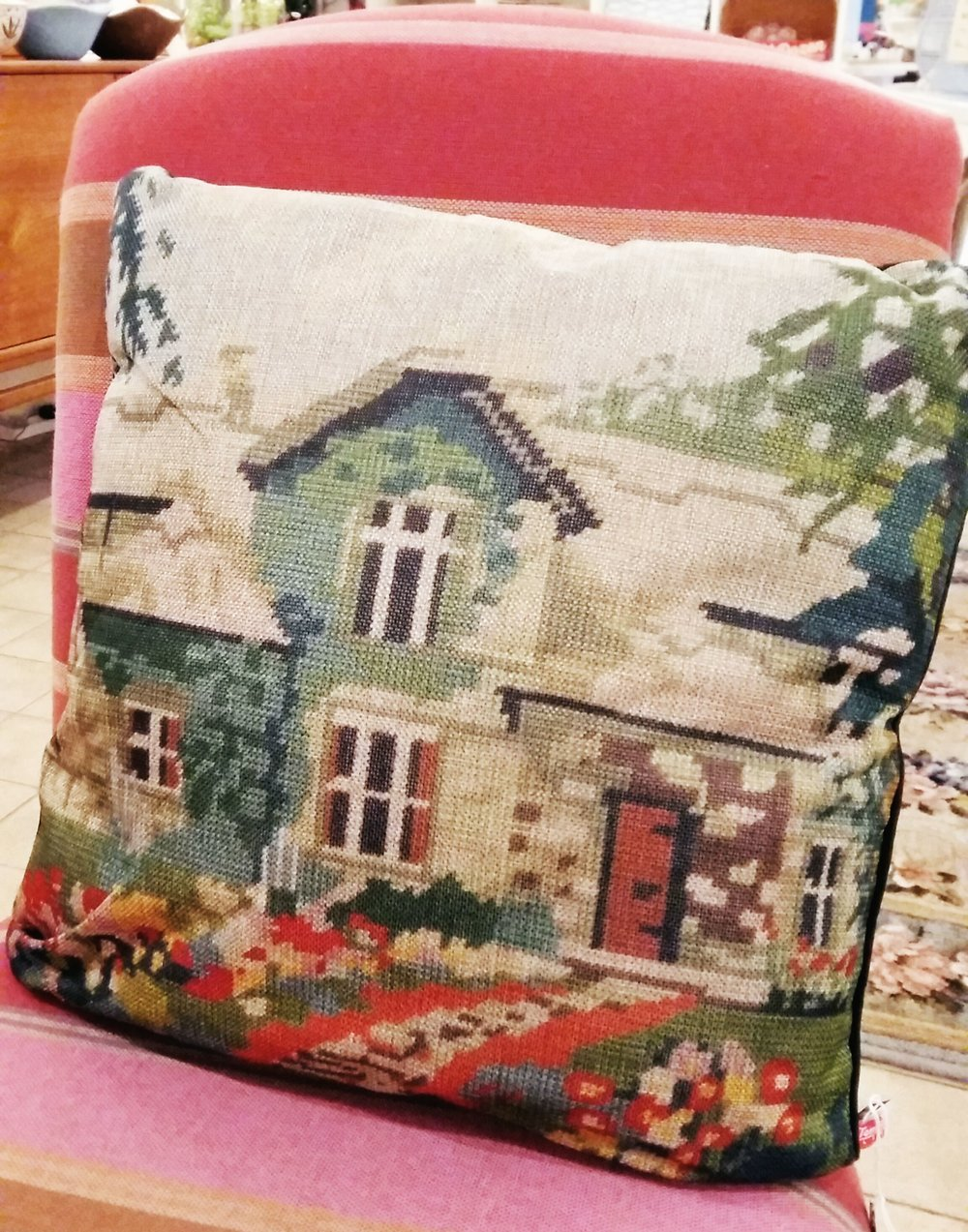 Faux cross stitch kitsch cushion only £5.00