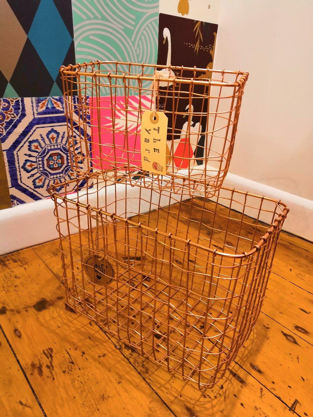 Copper storage baskets