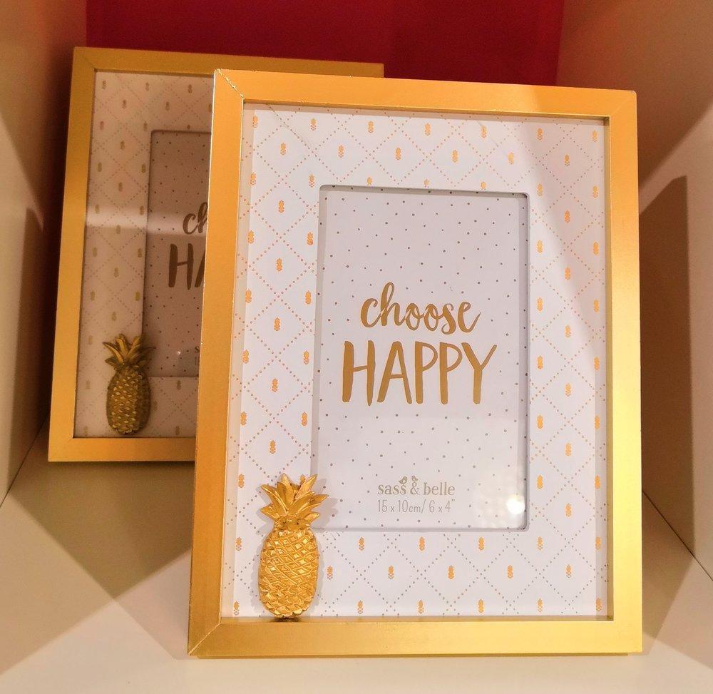 Happy pineapple photo frame