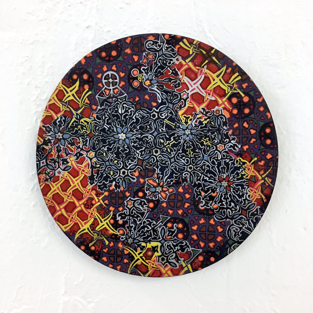Circle Model 2  Acrylic on Wood 8 inch diameter 2014