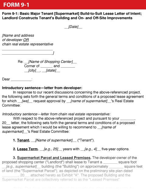 Shopping Center Dealmakers Handbookform 9 1 Basic Major Tenant