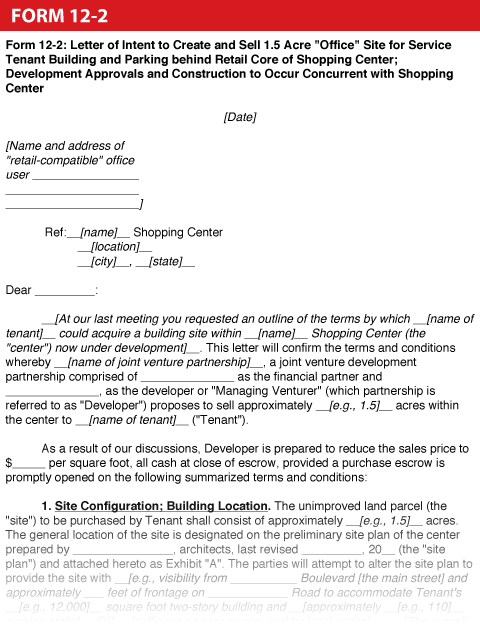 Shopping Center DealMaker's Handbook®—Form 12-2: Letter of
