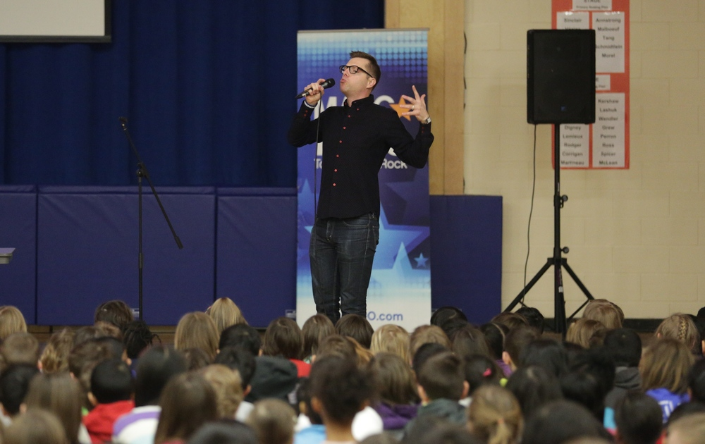 Peter Joynt speaking at an Ottawa school with the #NoMoreBullies Tour. Motivational Public speaking
