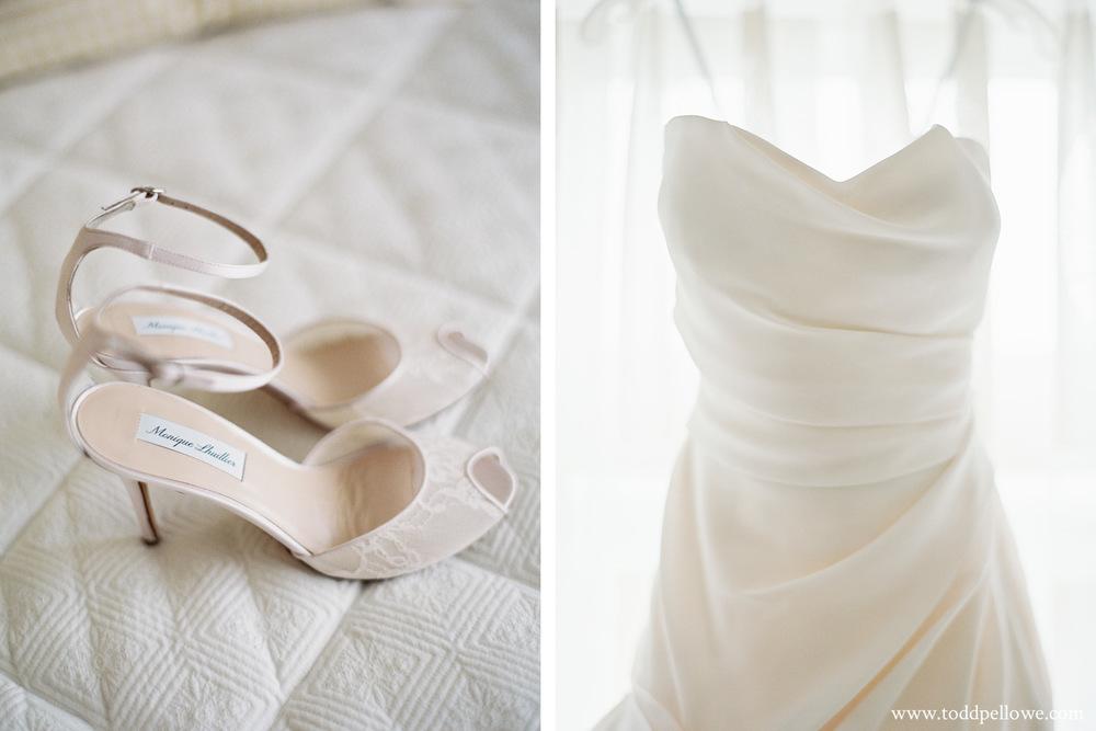 Monique Lhuillier Wedding Shoes and dress