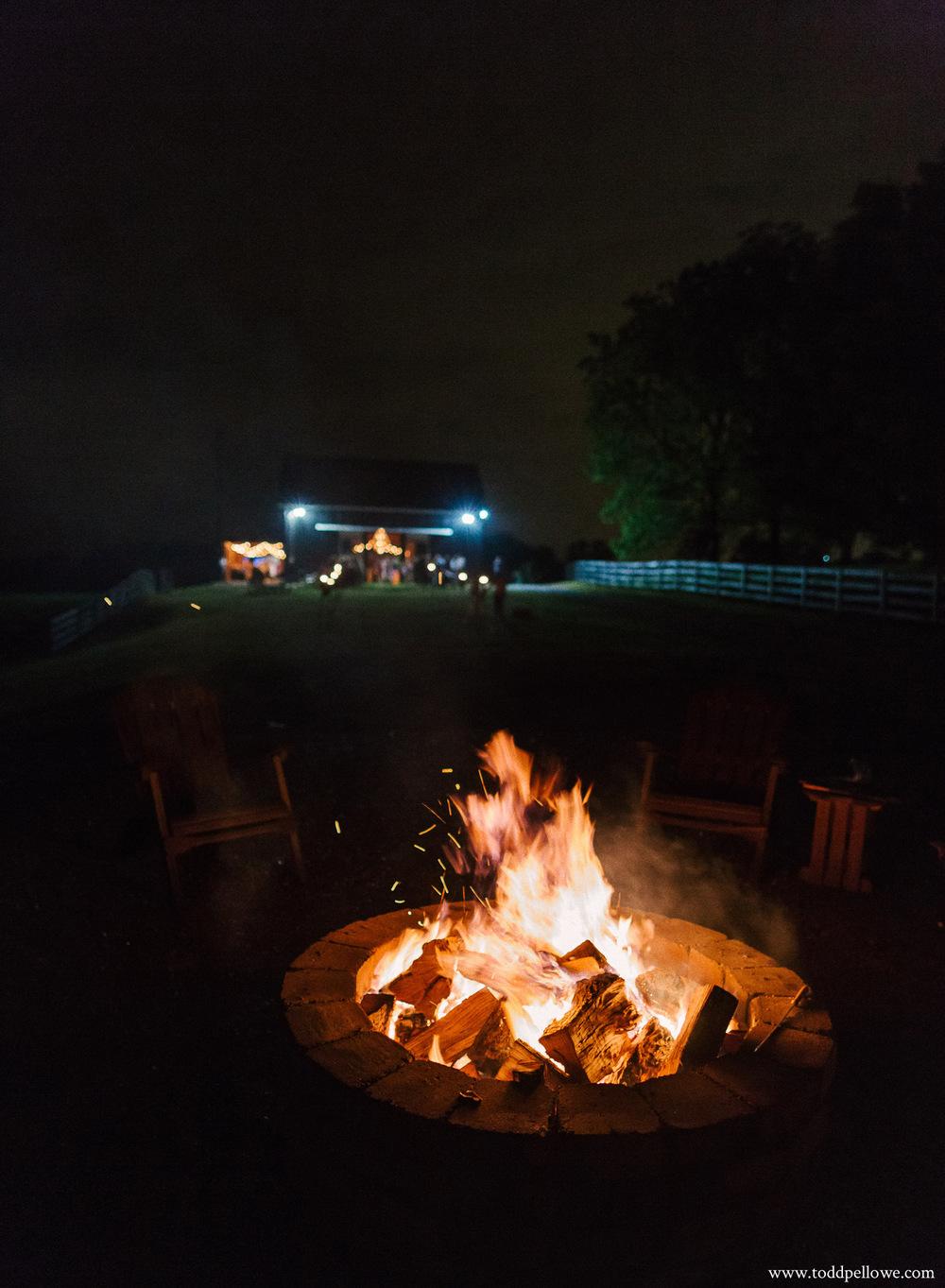 Bonfire at Kentucky farm wedding