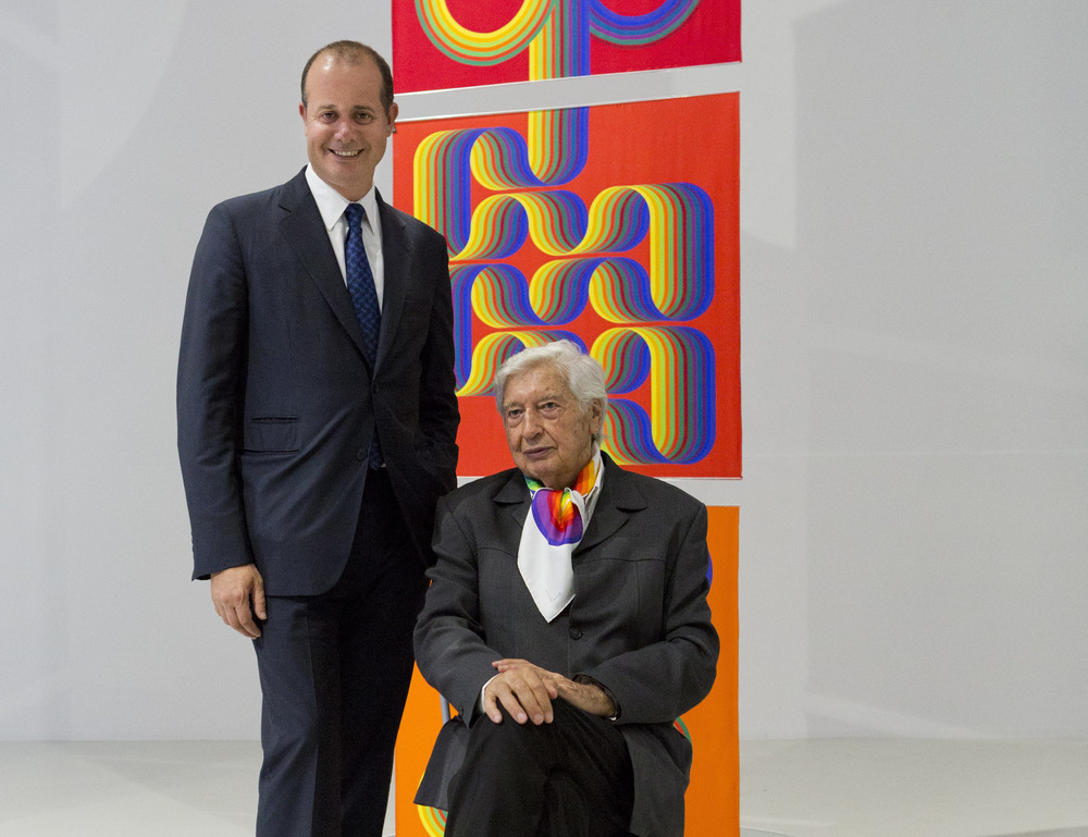 Hermès creative director Pierre-Alexis Dumas, left, with Julio Le Parc at the Museum der Kulturen in Basel.