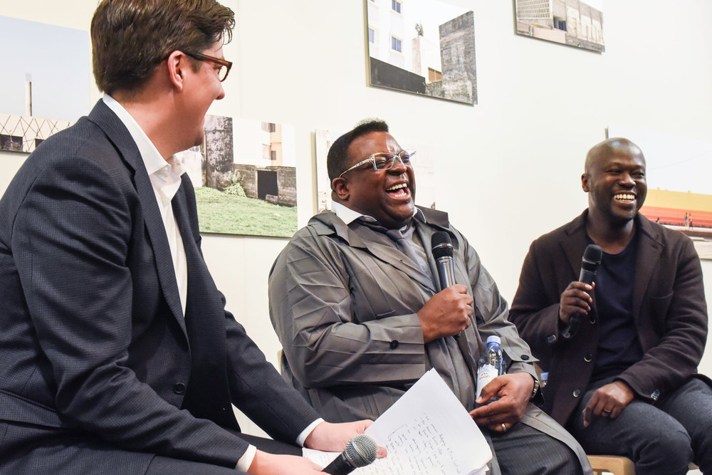 Surface editor-in-chief Spencer Bailey talks to artist Isaac Julien and architect David Adjaye.(Photo: BFA/Surface)