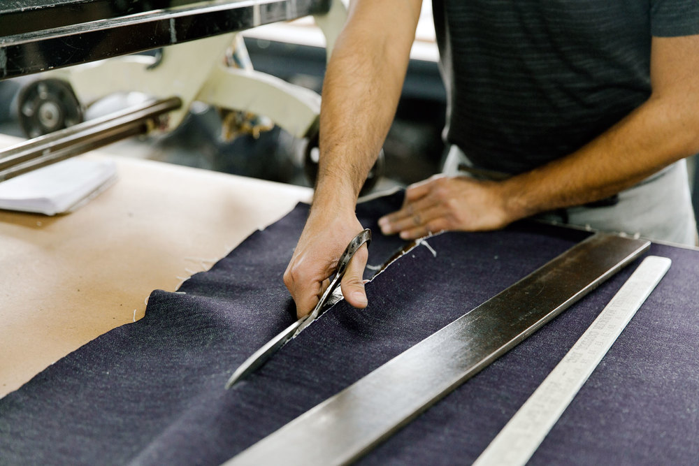 Basic forms are cut by hand with shears, in much the say way that a bespoke suit would be started. (Photo: Angi Welsch/Surface)