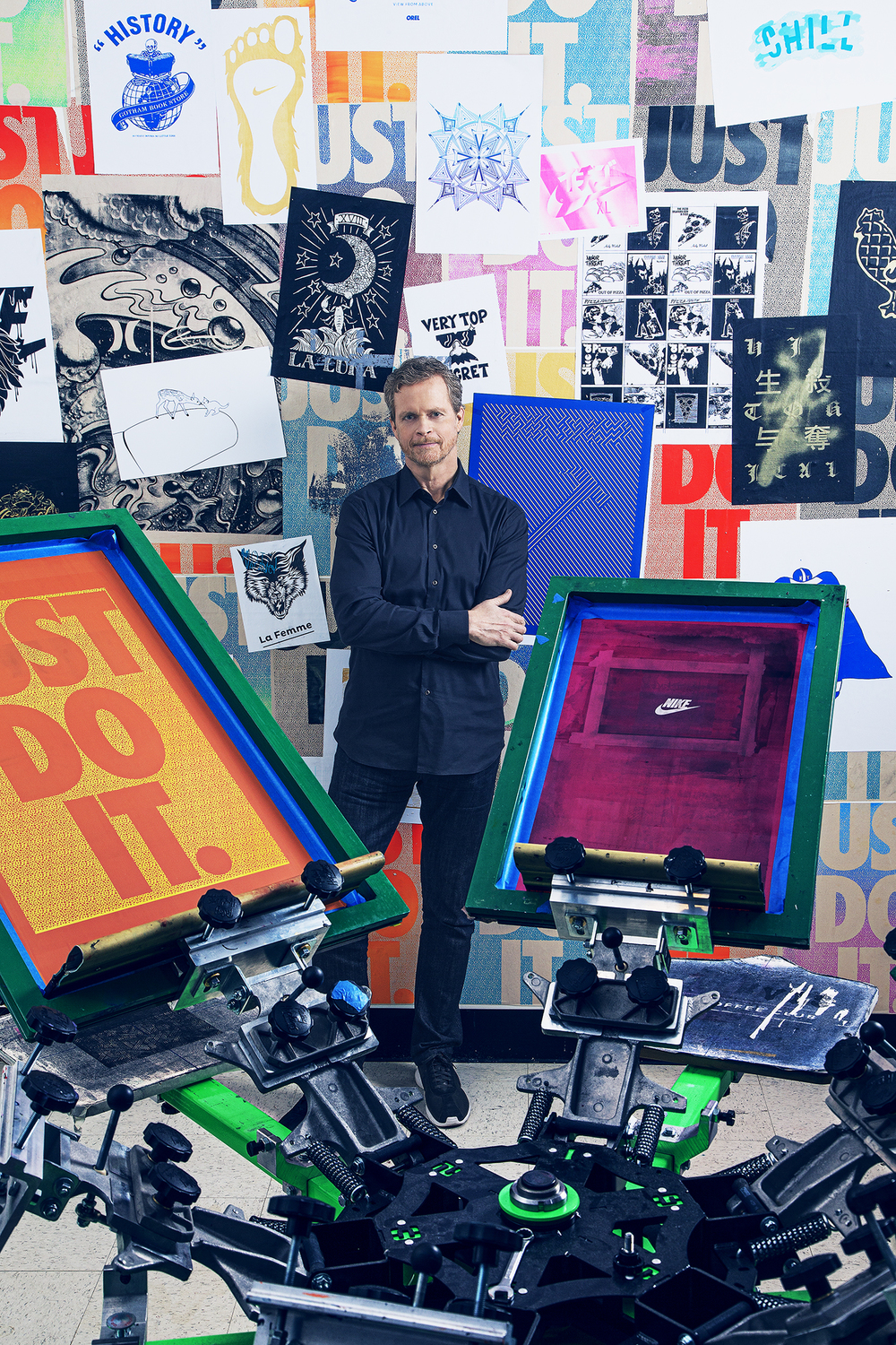 Parker in the screen printing room at Nike's Blue Ribbon Studios. (Photo: Ogata/Surface)