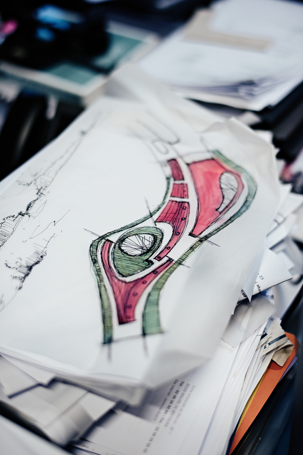 A sketch at Decq's studio.  (Photo: Franck Juery/Surface)