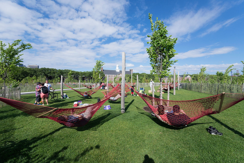 Because the island isn't under the jurisdiction of the city's Parks Department, adults can play on the playgrounds and everyone can enjoy Hammock Grove. (Photo: Timothy Schenck)
