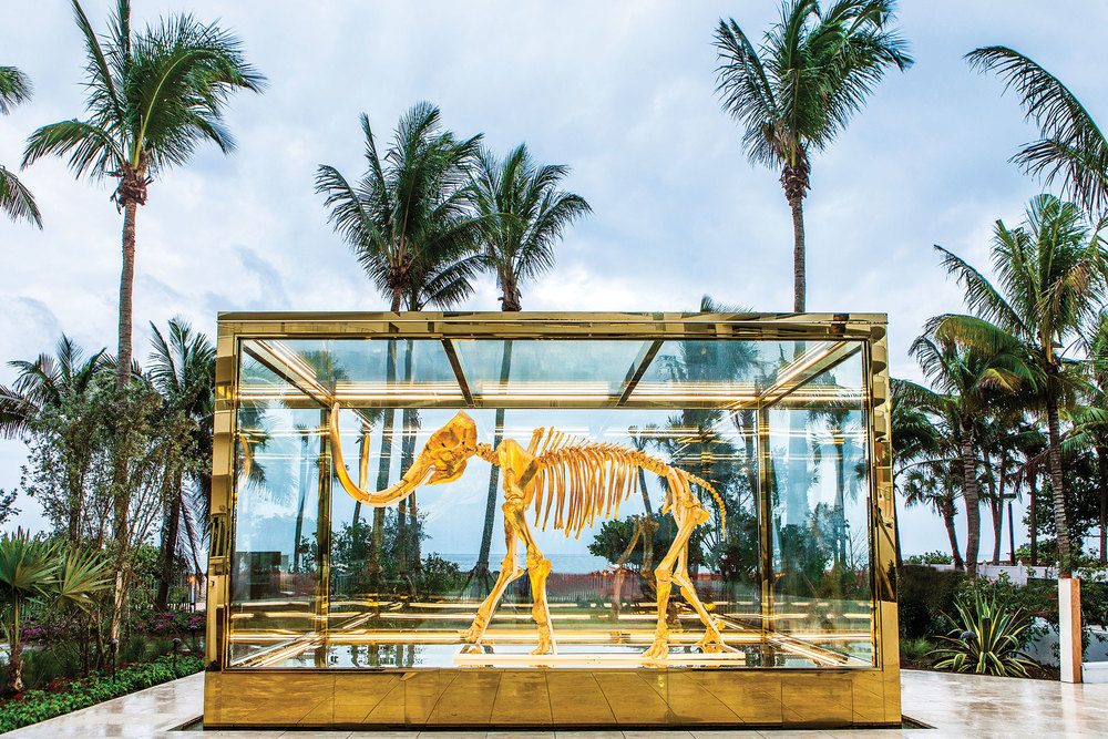"Damien Hirst's ""Gone But Not Forgotten"" in a Raymond Jungles–designed garden. (Photo: Courtesy Faena Hotel Miami Beach)"