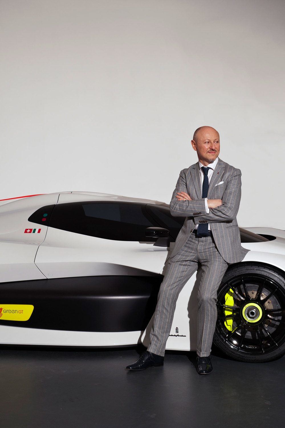 Designer Fabio Filippini with the H2 speed concept car. (Photo: Andrea Wyner)