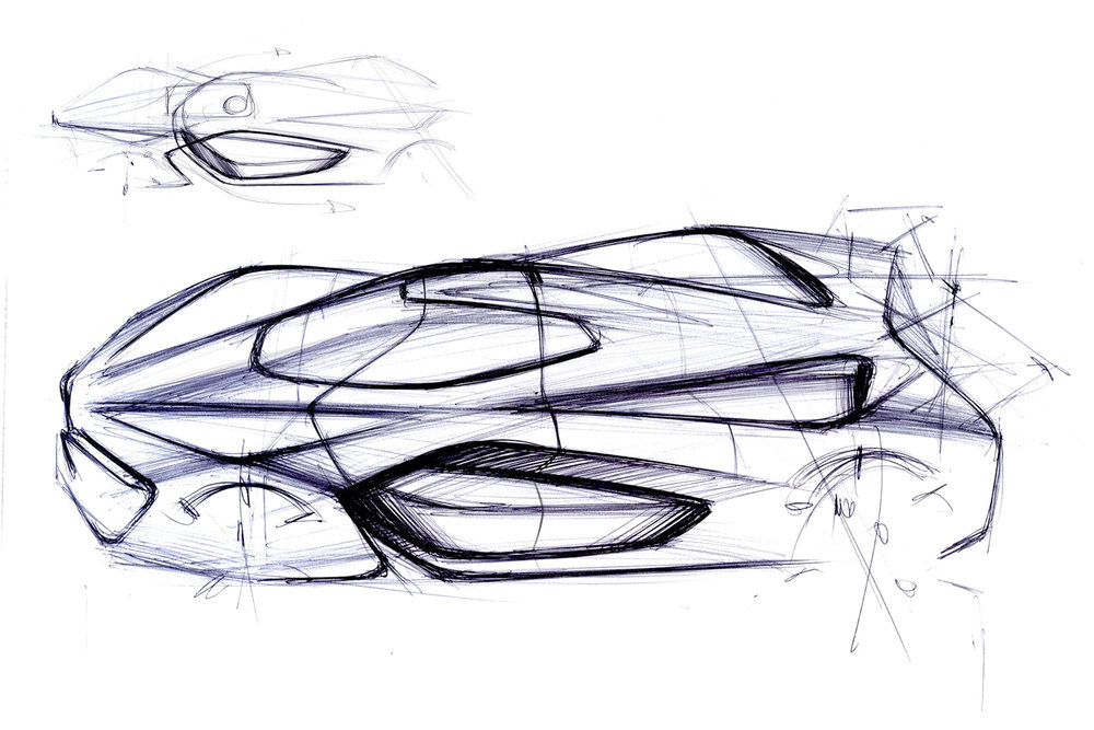 Concept sketches of the H2 Speed. (Photo: Courtesy Pininfarina)