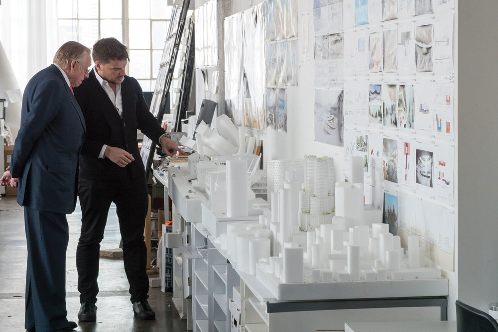 Silverstein looking at building models with architect Bjarke Ingels. (Photo: Courtesy Silverstein Properties)