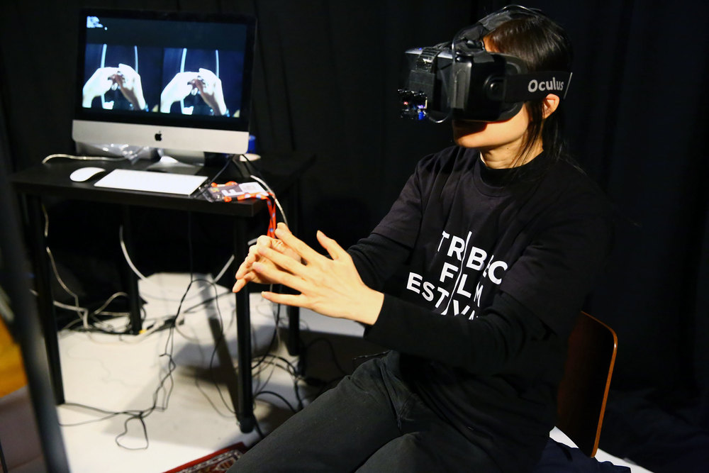 Someone experiencing VR at the Tribeca Film Festival with an Oculus Rift. (Photo: Courtesy Tribeca Film Festival)