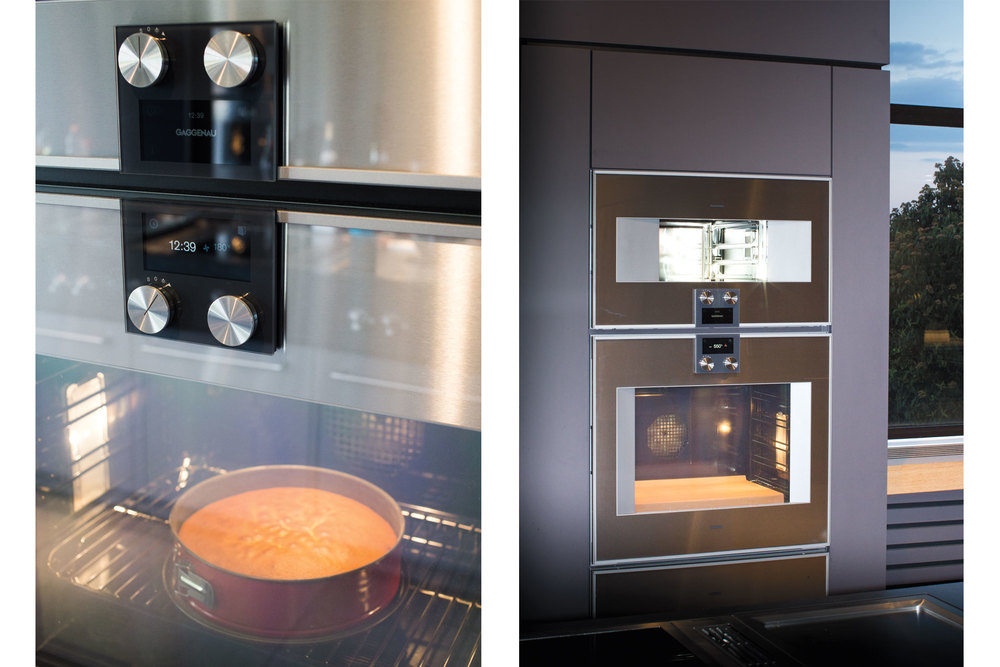 Two views of the 400 Series Combi-steam oven and 400 Series single oven at work. (Photo: Monika Hoefler/Surface)