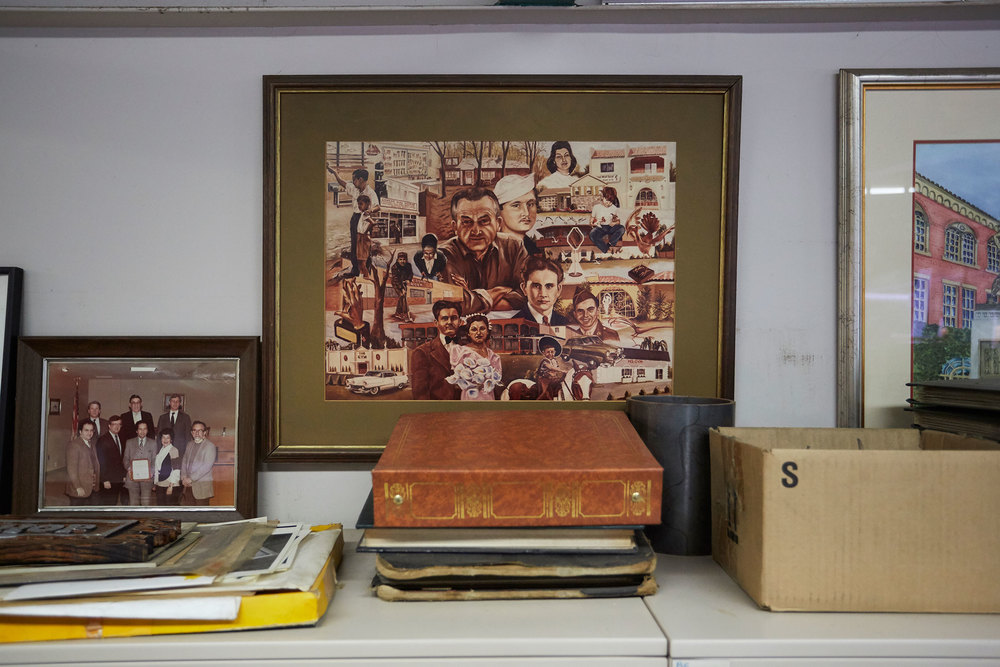 Mementos inside the family-run office.