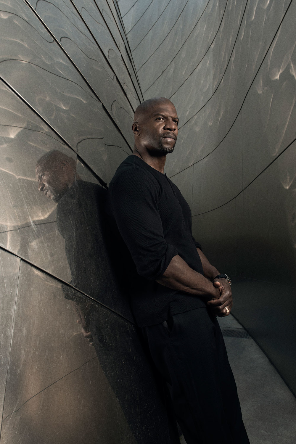 Terry Crews at the Frank Gehry-designed Walt Disney Concert Hall in Downtown Los Angeles. (Photo: Luke Fontana/Surface)