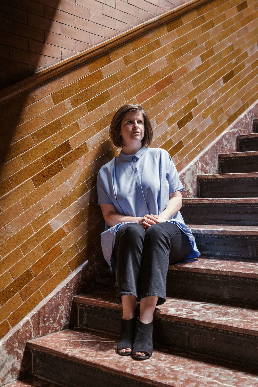 Laura Fried at the Bradbury Building in Los Angeles. (Photo: Mathew Scott/Surface)