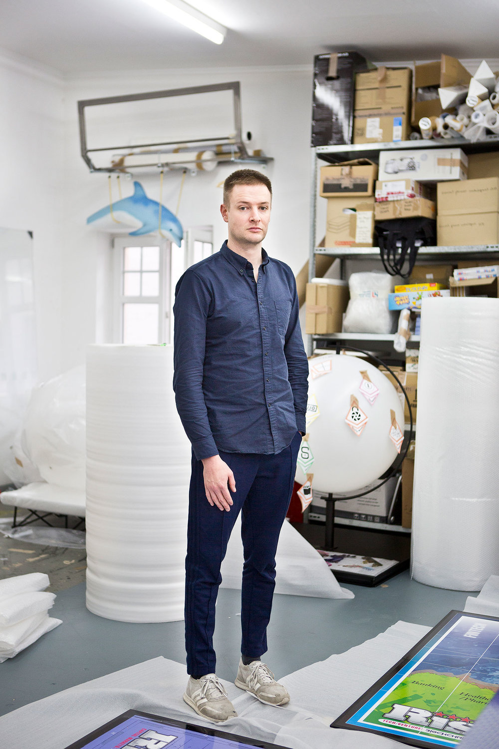 Simon Denny at his studio in Berlin. (Photo: Djamila Grossman/Surface)